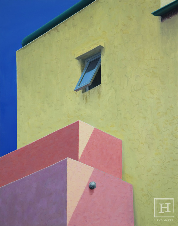 untitled (sunshine on beige and pink building), 100x80cm, 2016